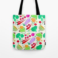 vegetables Tote Bags featuring Vegetables! by Niche Drawings