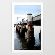 Wharf at Sunset Art Print