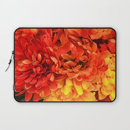 Autumn Flowers in Sunset Red and Sunrise Yellow Laptop Sleeve