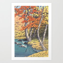 Japanese Woodblock -  Autumn in Oirase by Kawase Hasui, 1933 Art Print