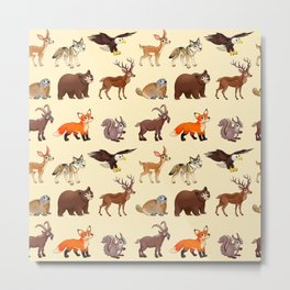 Cartoon mountain animals pattern Metal Print