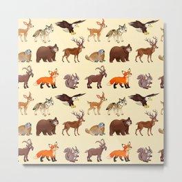 Cartoon mountain animals pattern Metal Print