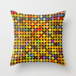 colorful geometric circle pattern abstract in orange yellow blue red Throw Pillow