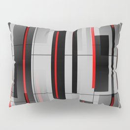 Off the Grid - Abstract - Gray, Black, Red Pillow Sham