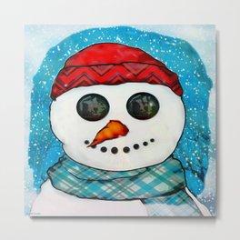 Reflections Christmas Snowman Folk Art Metal Print