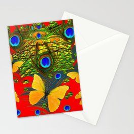 GREEN PEACOCK FEATHERS YELLOW BUTTERFLIES ON  RED ART Stationery Cards