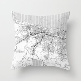 Caracas Map Line Throw Pillow