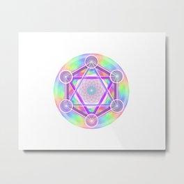 Rainbow Net Metatron Metal Print