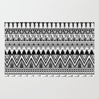 whisky Area & Throw Rugs featuring WHISKY AZTEC B/W  by Kiley Victoria