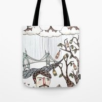 portland Tote Bags featuring Portland, Oregon by Brooke Weeber