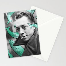 Albert Camus with calm whales Stationery Cards