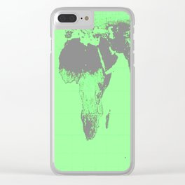 World Map : Gall Peters Seafoam Green Clear iPhone Case