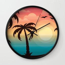 Rainbow Sunset Beach Wall Clock