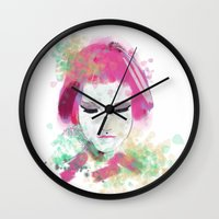 water colour Wall Clocks featuring water colour lady by rebeccalbe