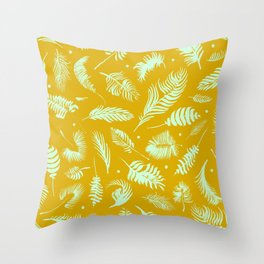 Golden palm pattern with bright mint color Throw Pillow