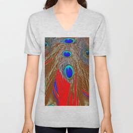 DECORATIVE  RED GREEN BLUE PEACOCK FEATHER JEWELS Unisex V-Neck