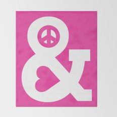 Peace and Love (pink edition) Throw Blanket