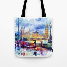 London Rain watercolor Tote Bag