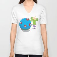 katamari V-neck T-shirts featuring Katamari Demacy by Of Lions And Lambs