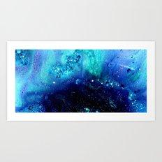 teal glitter abstract Art Print