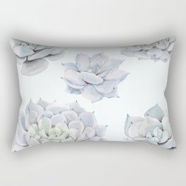 Blue Succulents Rectangular Pillow