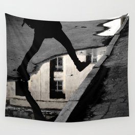 Across the puddle Wall Tapestry