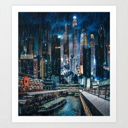 Bright Neon Future City Art Print