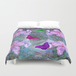 Fabulous pink hibiscus and vibrant butterflies Duvet Cover