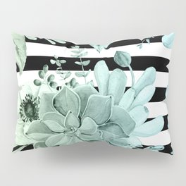 Succulents in the Garden Teal Blue Green Gradient with Black Stripes Pillow Sham