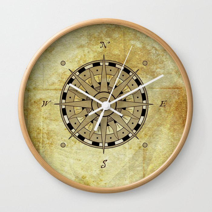 Compass Rose Wall Clock By Natashaalexandra Society6