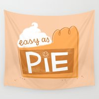 pie Wall Tapestries featuring Easy as Pumpkin Pie by This Paper Ship
