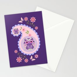 Retro paisley shapes with cute owls and flowers Stationery Cards
