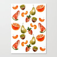 fruits Canvas Prints featuring Fruits by Jenny Viljaniemi