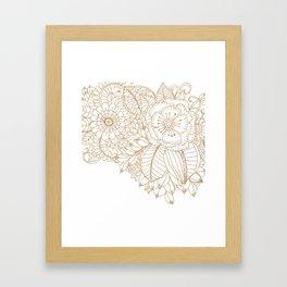 Elegant white faux gold glitter modern floral Framed Art Print
