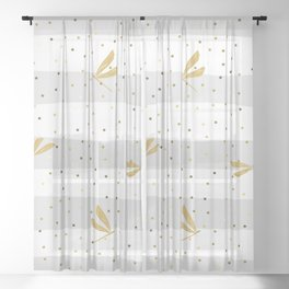 Gold Dragonfly Christmas seamless pattern and Gold Confetti on White and Pastel Grey Stripes Background Sheer Curtain