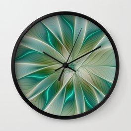 Floral Lights, Abstract Fractal Art Wall Clock