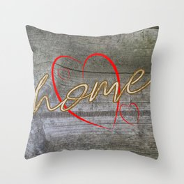 Home with a Heart Throw Pillow