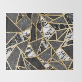 Modern Faux Gold Glitter Marble Geometric Triangle Throw Blanket