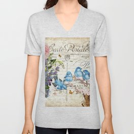 Vintage Postcard with Bluebirds Unisex V-Neck