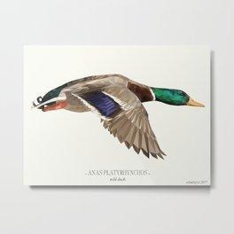 """Incoming wild duck - """"Vintage"""" low poly digital art Metal Print"""