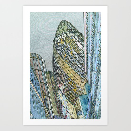 The Gherkin London Art Print