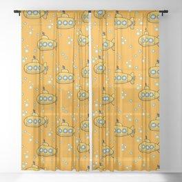 Yellow Submarine - Yellow sea  Sheer Curtain