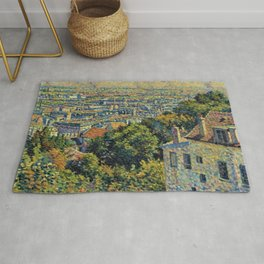 Hill of Montmartre overlooking Paris by Maximilian Luce Rug