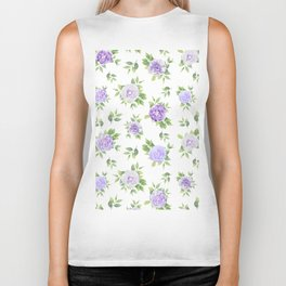 Hand painted lavender violet green watercolor floral Biker Tank