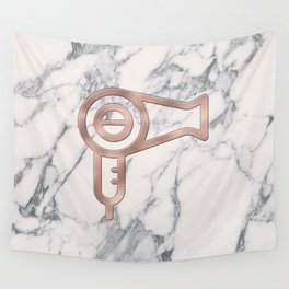 Rose Gold Blow Dryer on Marble Background - Salon Decor Wall Tapestry