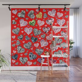 Heart Diamonds are Forever Love RED Wall Mural