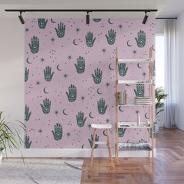 Magic Universe Moon phase and stars fortune telling hamsa pink Wall Mural