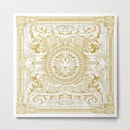 Medallion Lion Vintage Renaisance White Gold Metal Print