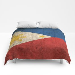 Old and Worn Distressed Vintage Flag of Philippines Comforters