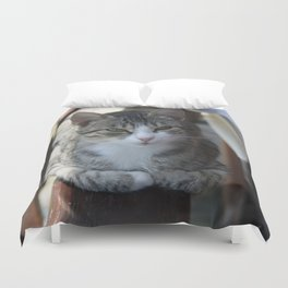 Cute Tabby Cat - Sitting On The Fence Duvet Cover
